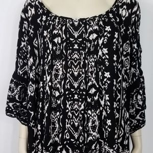 black white slit bell sleeve boho top ladies XXL